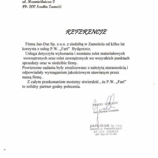 Rekomendacja Jan-Dar